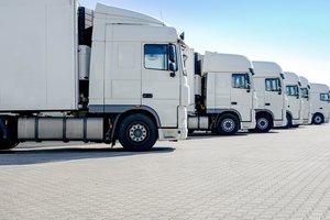 LKW-Spedition, mehrere weiße Laster stehen nebeneinander p811